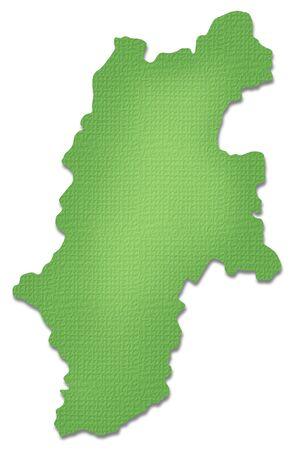 ペーパー クラフト トーンの長野県地図 写真素材