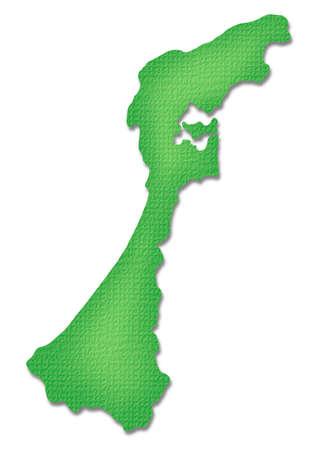 prefecture: Ishikawa Prefecture map of Paper Craft tone