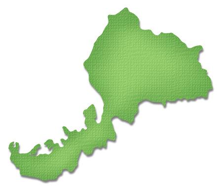 prefecture: Fukui Prefecture map of Paper Craft tone Stock Photo