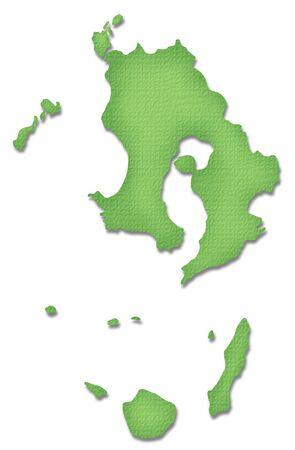 kyushu: Kagoshima Prefecture map of Paper Craft tone