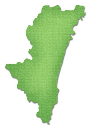 kyushu: Miyazaki Prefecture map of Paper Craft tone