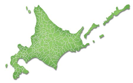 hokkaido: Hokkaido border containing map of Paper Craft tone