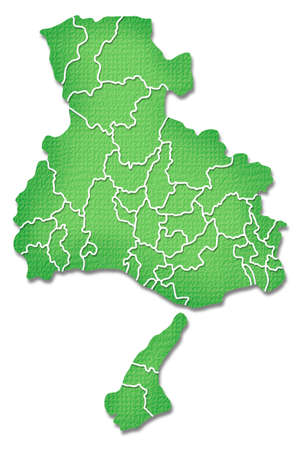 prefecture: Hyogo Prefecture border containing map of Paper Craft tone Stock Photo
