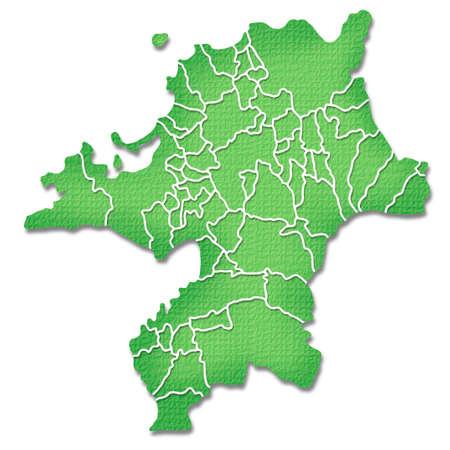 prefecture: Fukuoka Prefecture border containing map of Paper Craft tone