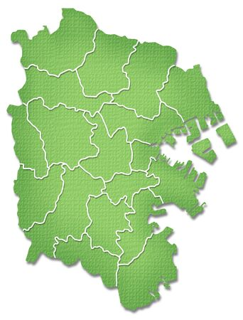 kanto: Yokohama border containing map of Paper Craft tone Stock Photo