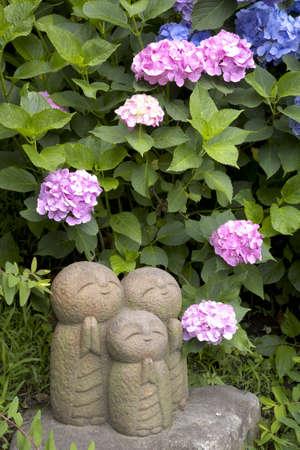 jizo: Jizo and hydrangea