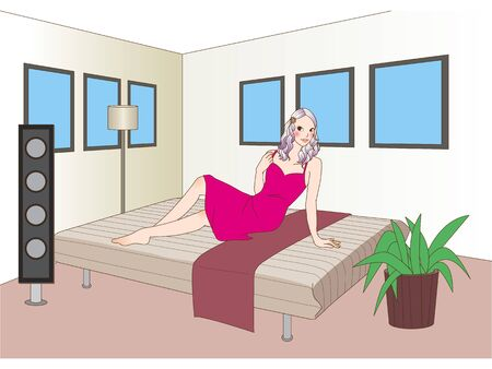 asian lifestyle: Sitting girl Stock Photo