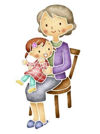 put: Grandmother to put the grandchildren to knee