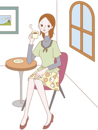 drink coffee: Woman drinking coffee
