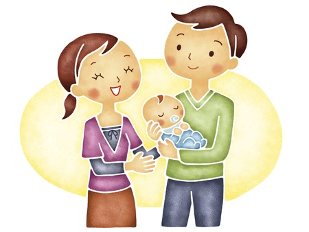 husband and wife: Couple and baby