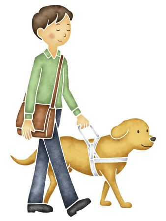 Visually impaired person to walk with her guide dog Stock Photo
