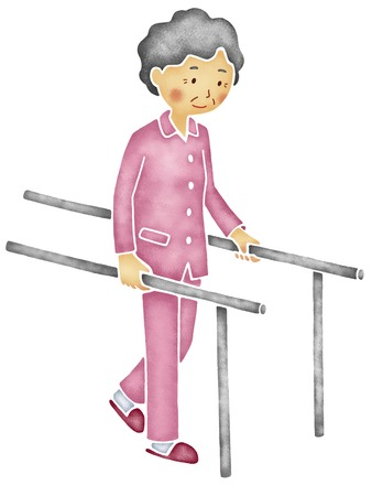 parallel: Old man to walking training in the parallel bars