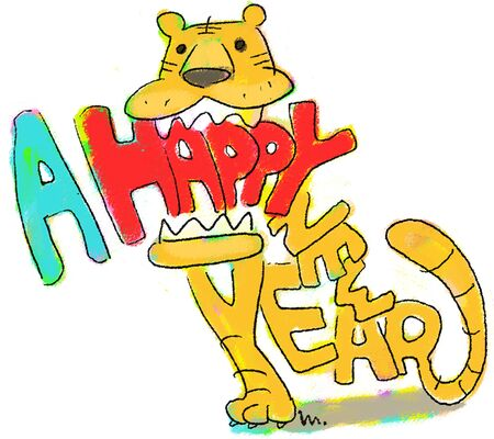 year of the tiger: Tiger character HAPPY NEW YEAR Stock Photo