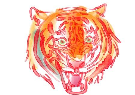 水彩のトラの顔の吠え 写真素材