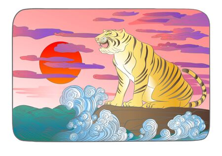 barking: Tiger is barking in the sea of rocks sunrise Stock Photo