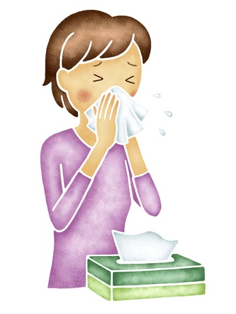 rhinitis: Women who chew the nose with a tissue