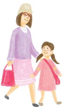 child walking: parent and child walking Stock Photo