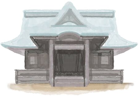 shinto: Shrine illustration, illustrations, hand-painted, analog, watercolor, paint, paint, character, icon, shrine, shinto shrine, Shinto shrine, worship, pilgrimage, building, front, white back, image, shea