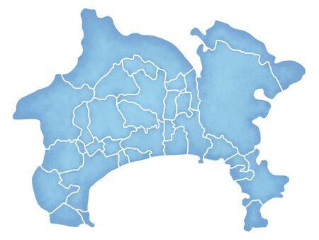 Kanagawa Prefecture grens met kaart Stockfoto