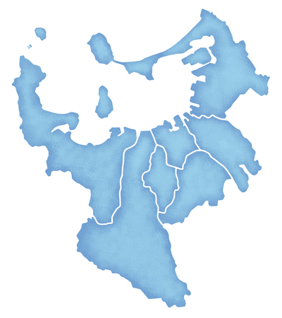 福岡市境界線含む地図表示 写真素材