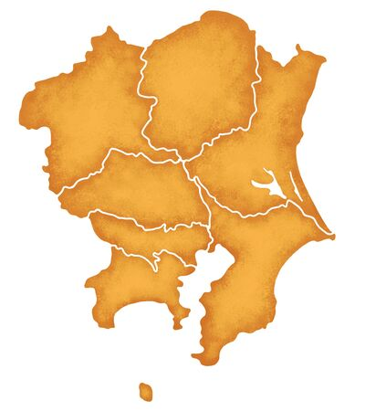 kanagawa: Kanto map