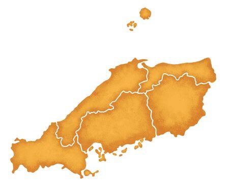 prefecture: Chugoku Map Stock Photo