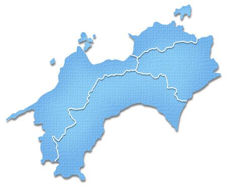Shikoku map of Paper Craft tone Stock Photo