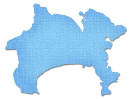 kanagawa: Kanagawa Prefecture map of Paper Craft tone Stock Photo