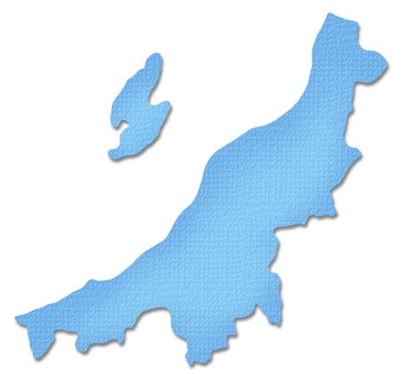 Niigata Prefecture map of Paper Craft tone Banco de Imagens