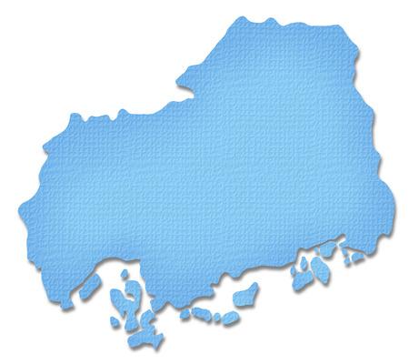 hiroshima: Hiroshima Prefecture map of Paper Craft tone