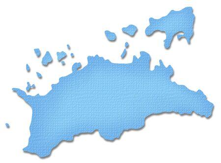 prefecture: Kagawa Prefecture map of Paper Craft tone Stock Photo