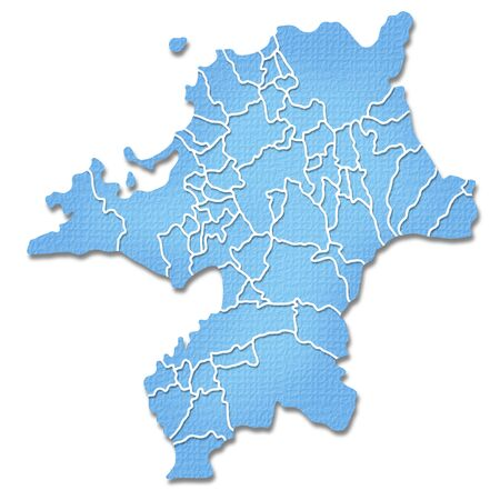 kyushu: Fukuoka Prefecture border containing map of Paper Craft tone