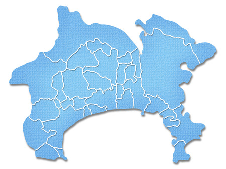Kanagawa Prefecture border containing map of Paper Craft tone