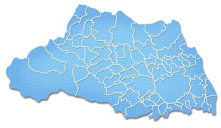 prefecture: Saitama Prefecture border containing map of Paper Craft tone