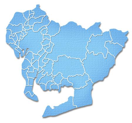prefecture: Aichi Prefecture border containing map of Paper Craft tone