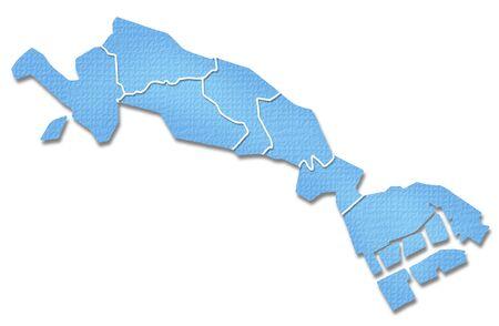 kanto: Kawasaki border containing map of Paper Craft tone Stock Photo