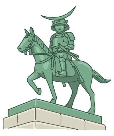 date: Date Masamune equestrian statue Stock Photo