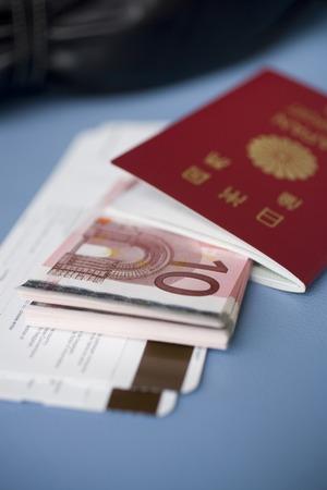 euro banknotes: Passport and Euro banknotes