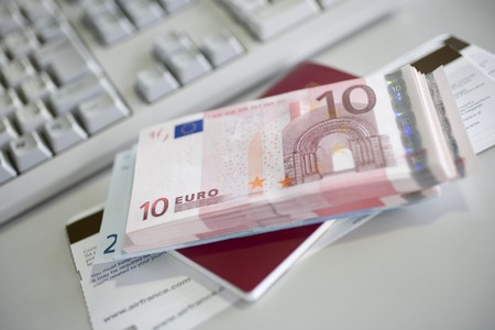 Passport and Euro banknotes