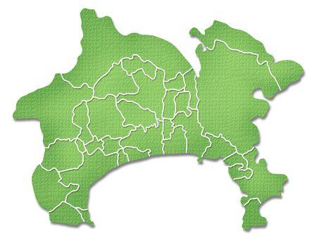 kanagawa: Kanagawa Prefecture border containing map of Paper Craft tone