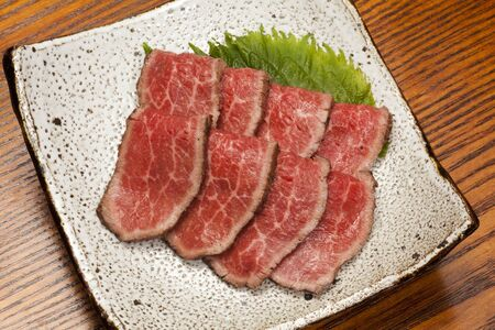 flesh colour: Beef tataki