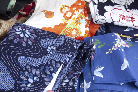 flea market: Old clothes City of kimono Stock Photo