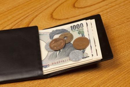 財布とお金 写真素材
