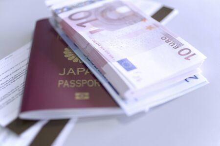 パスポートとユーロ紙幣 写真素材