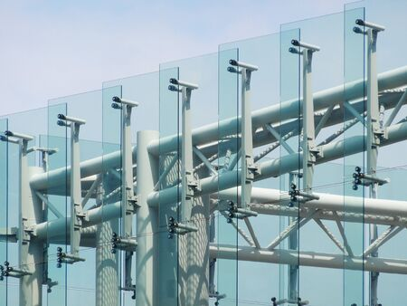 sidewall: Glass side walls of the building Stock Photo