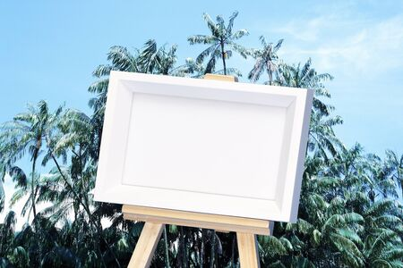easel: Easel and landscape synthetic Stock Photo