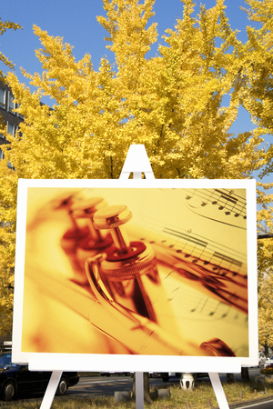 synthesis: Synthesis of ginkgo and trumpet Stock Photo