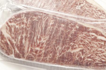 Frozen steak meat