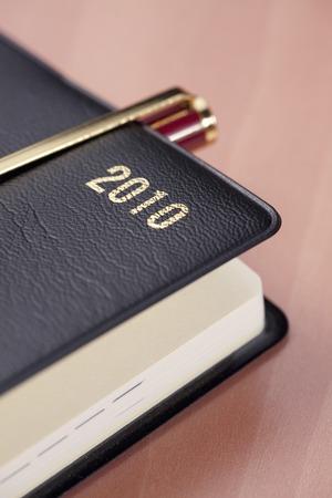 ballpoint: Pocketbook and the ballpoint pen Stock Photo