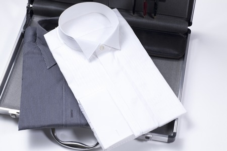 commuting: Tie and Y shirt and commuting bag Stock Photo